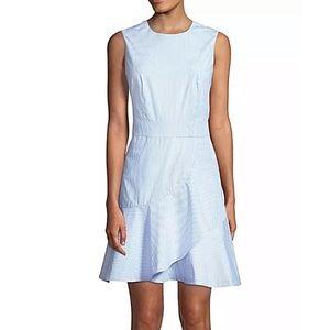Draper James Blue Striped Ruffle Dress